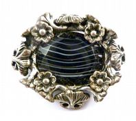 Vintage Early Miracle Black Faux Agate Arts And Crafts Style Brooch.